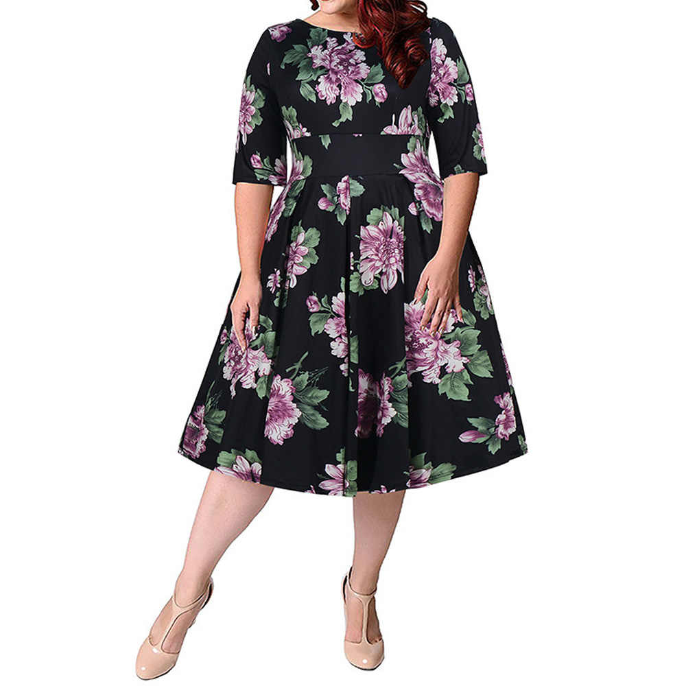 Joineles Plus Size 9XL Lemon Print Women Summer Dress Round Neck Half Sleeves High Waist Retro Dress 60s Party Vestidos De Festa