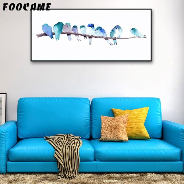 Lange Muur Decoreren.Foocame Aquarel Dier Vogels Posters En Prints Art Canvas Schilderij