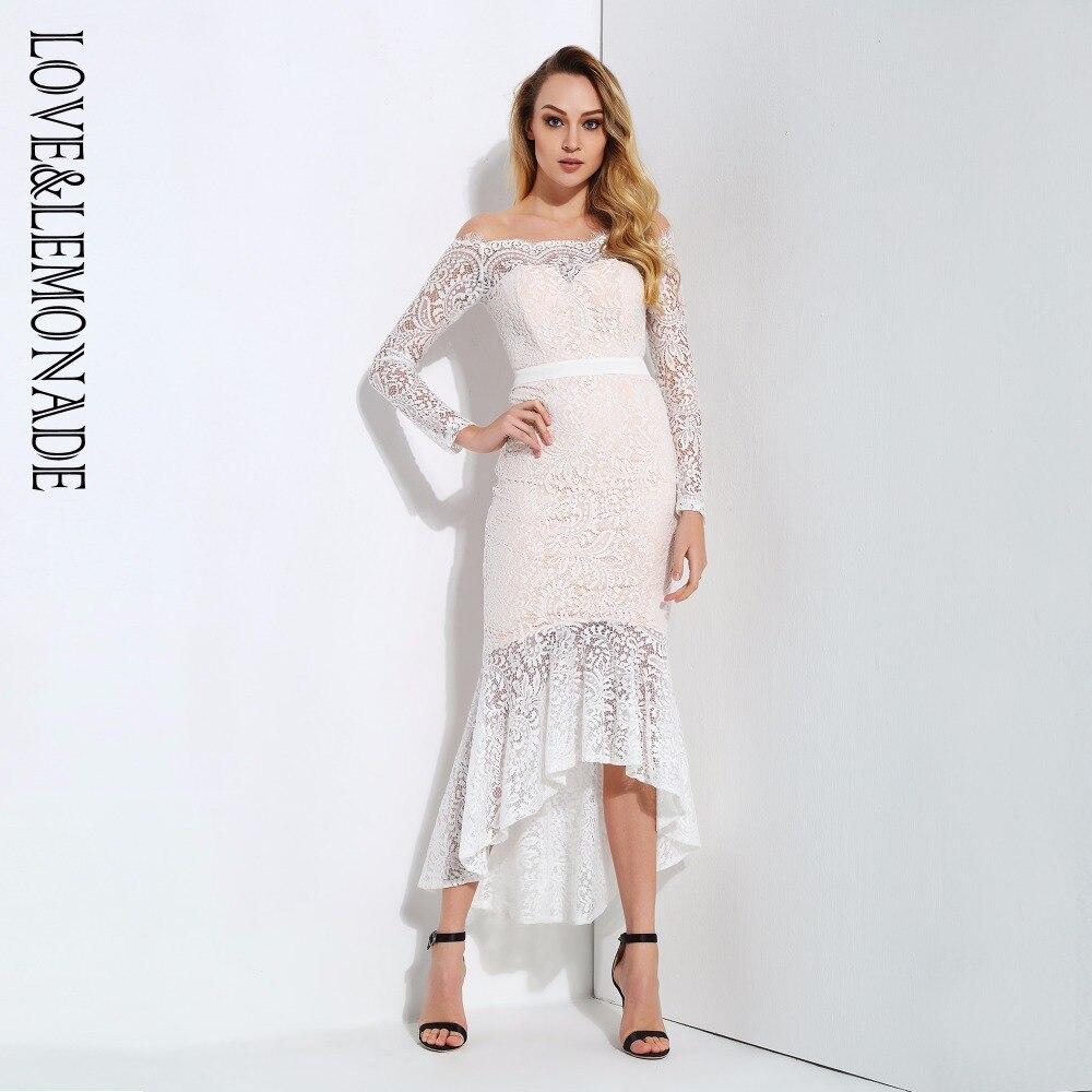 Love Lemonade Shoulders Fishtail Lace Long Sleeved Dress LM0732