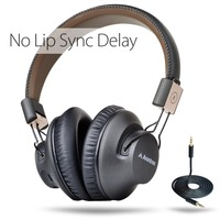 Avantree BTHS AS9P BLK Low Latency Bluetooth 4 1 Foldable NFC Wire Wireless Headset With Microphone