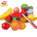 3 Types Wooden Cutting Food Toys with Cartoon Expressions Fruit Vegetable Miniature Pretend Kit Early Education Gift for Kids