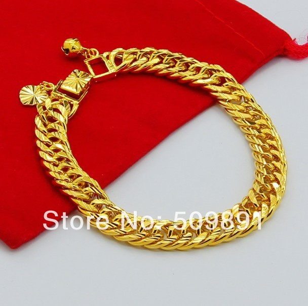 YMB2 Men Jewelry Top Quality 24K Pure Gold color 8MM Links Chain
