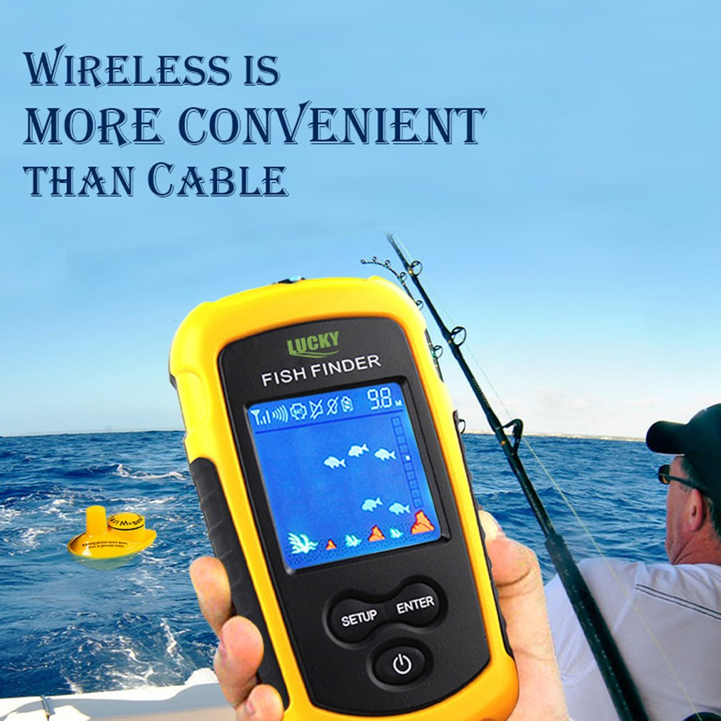 LUCKY FFW1108-1 Wireless Sonar Fish Finder 40m Depth Range Ocean Lake Sea Fishing Water Resistant Fish Detector lucky ffw1108 1 color lcd display portable wireless sonar fish finder water resistant 40m 120ft depth sonar sounder alarm b9