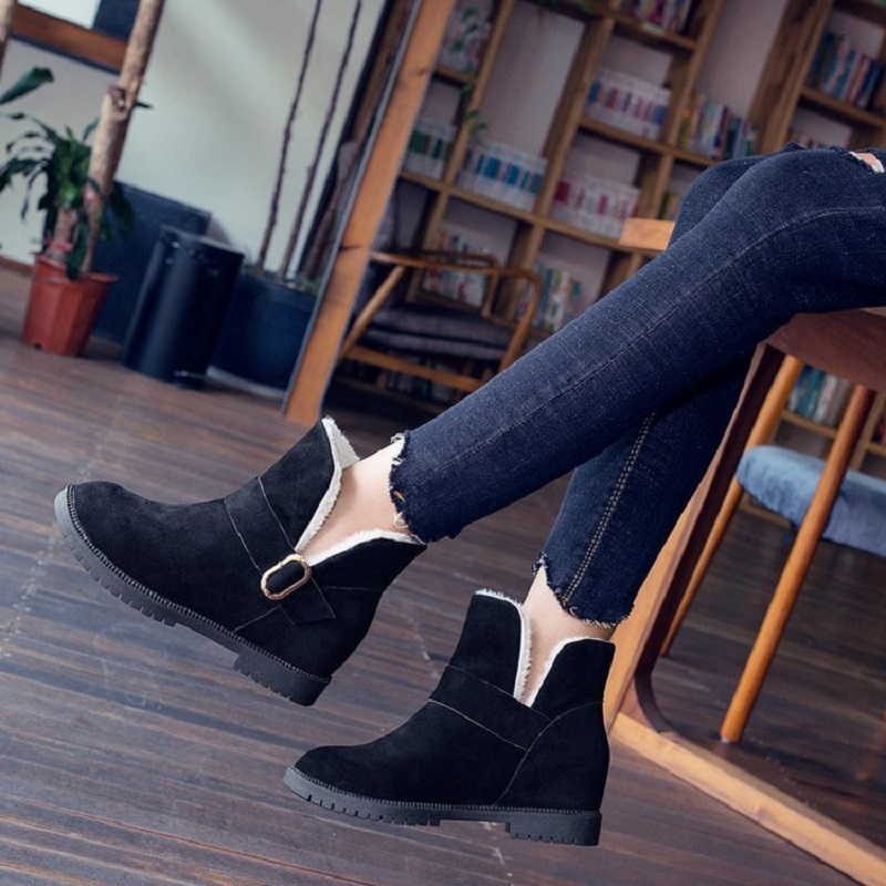 Botas Grueso Ante Nueva Zapatos Tubo Más Invierno Negro De 2018 Moda Corto Terciopelo Caliente marrón Nieve Algodón wqXUg8H