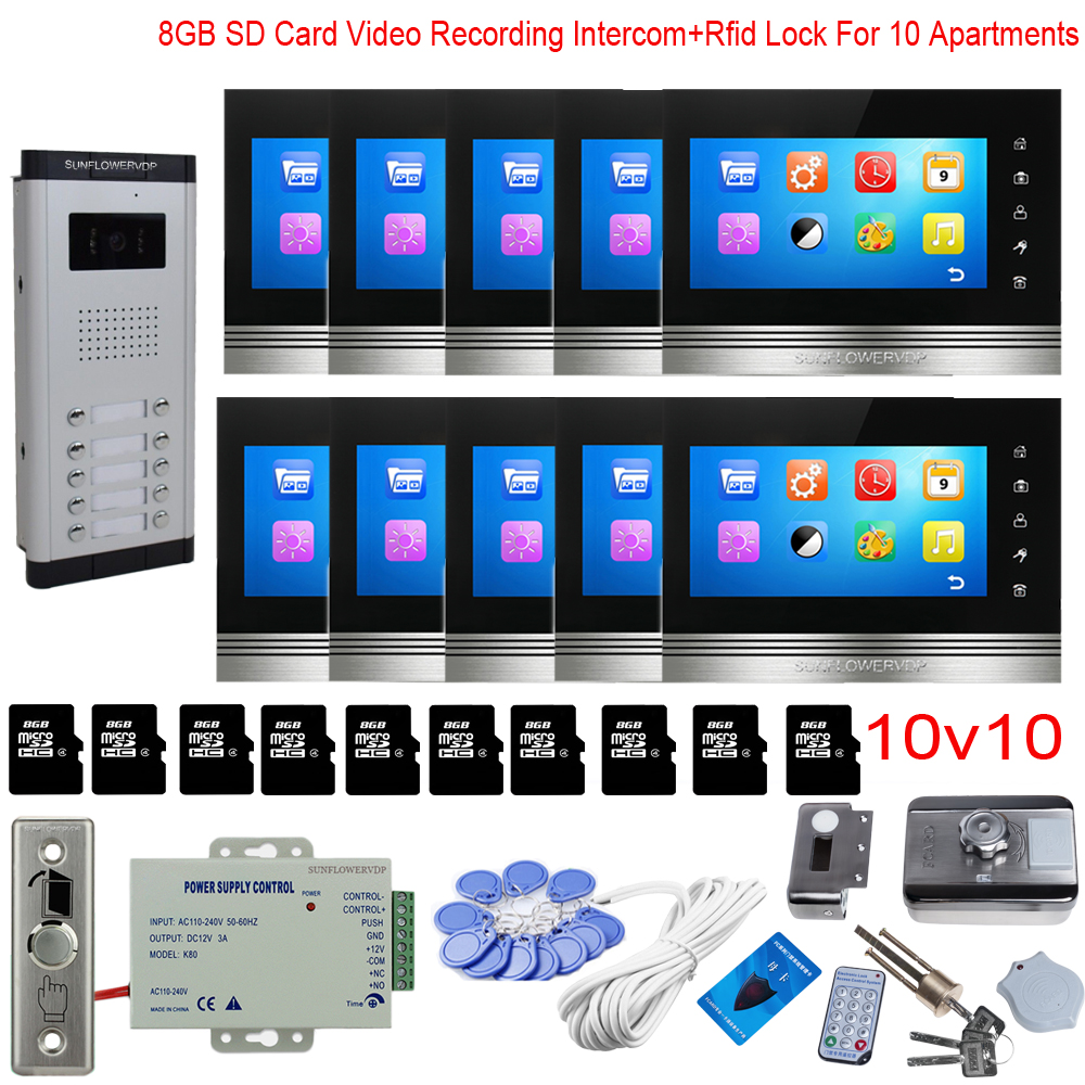 For 10 Apartments Video Recording Video Intercom Kit Video Intercom With Rfid Card 8GB 7
