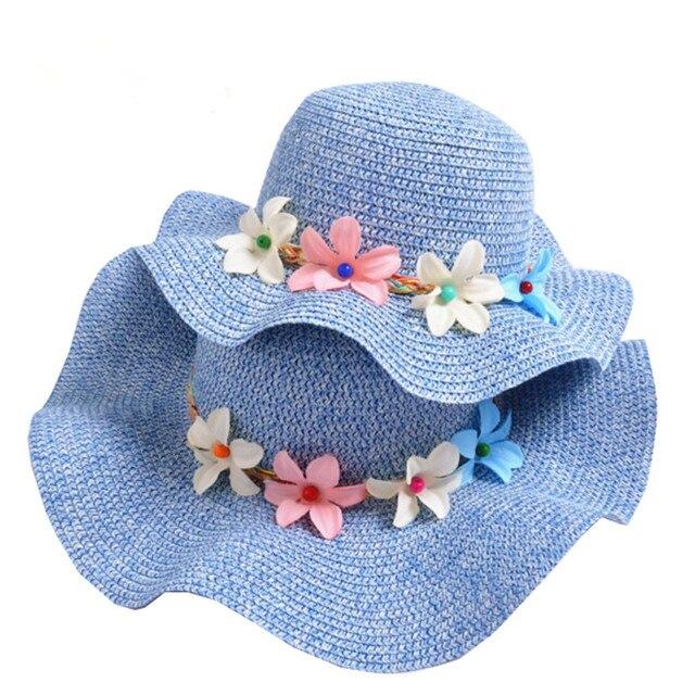 4ea0fabcf3b90 Femmes Parent-enfant Kid casquettes de plage princesse bébé fille été  chapeaux de paille bébé