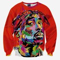 Hip hop 3d sweatshirt for men autumn pullovers print rapper Tupac 2pac hoodies long sleeve tops red color