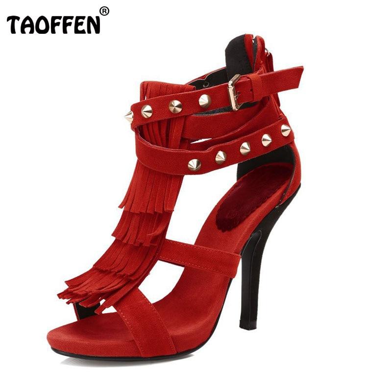 ФОТО Size 35-46 Women High Heel Gladiator Sandals Ladies Tassel Thin High Heel Zipper Shoes Woman Brand Sandal Footwear Shoes B040