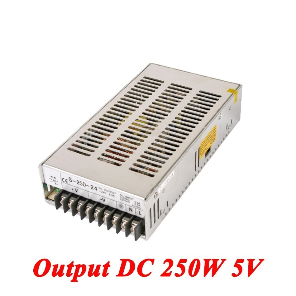 S-250-5 Switching Power Supply 250W 5v 50A,Single Output Ac-Dc Power Supply For Led Strip,AC110V/220V Transformer To DC 5V single output switching power supply 13 5v 59a 800w transformer 110v 220v ac to dc 13 5 v smps for electronics led strip display