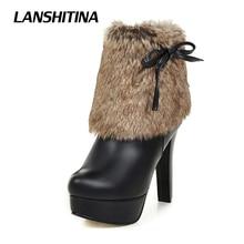 Size 32-43 Women Ankle Boots Faux Fur Boots Women High Heel Short Boots Botas Mujer Woman Bota Fashion Sexy Shoes Platform G012