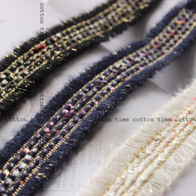 5yards/lot Mohair Ribbon 3cm wide Golden Webbing with sequins in vintage style accessory for bag garment free shipping