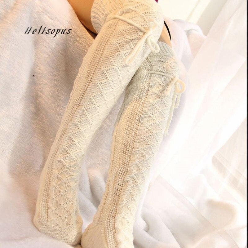 Helisopus Fashion Winter Stockings Knee High Socks Knitted Socks Warm High Long Boot Stockings Women Sexy Over Knee Socks