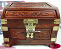 Wooden house red wood jewelry box carved jewelry box mirror box red wood carving furniture Decoration Wedding gifts