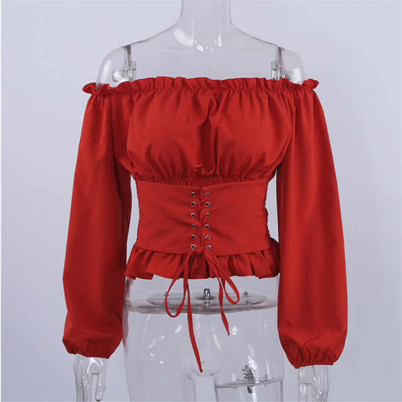 bffc3a628c ... High Street Womens Tops and Blouses Lace up Satin Corset Blouse Lantern  Sleeve Women Off Shoulder