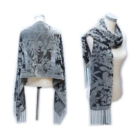 Color puro gris hojas Burnout terciopelo de seda bufanda de lujo ...