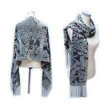 Pure Color Grey Leaves Burnout Velvet Silk Scarf Luxury Brand 2017 Euro Hot Women Scarf Wedding Pashmina Winter Dress Accessory