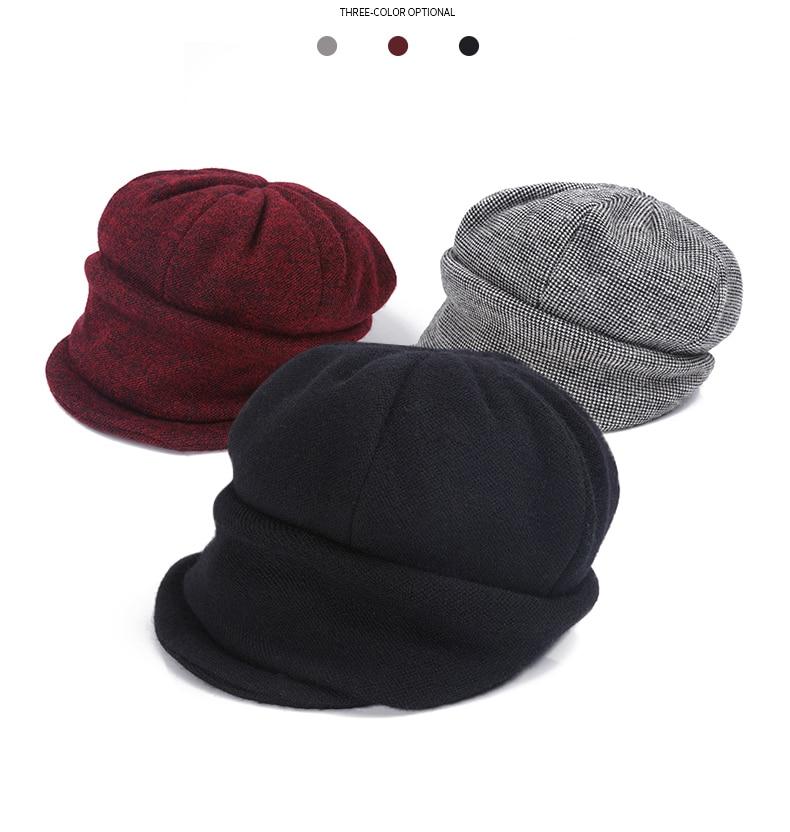 7723464d282fd Compre FS Cálido Lana Mujeres Sombrero De Boina Color Sólido Ala ...