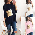 2017 Noble Elegant T Shirt Women Patch Pocket Sequined Sequins T-shirt Women Fashion New Top Tee Shirt Femmer Woman Clothes