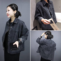 Autumn Spring Fashion women black denim jacket loose female long-sleeves coat Casual Outwear  NJK-85-39