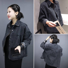Autumn Spring Fashion women black denim jacket loose female long-sleeves coat Casual Outwear  NJK-85-39