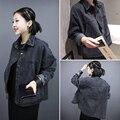 Otoño Primavera Moda mujeres negro denim chaqueta suelta de manga larga femenina capa Ocasional Outwear NJK-85-39