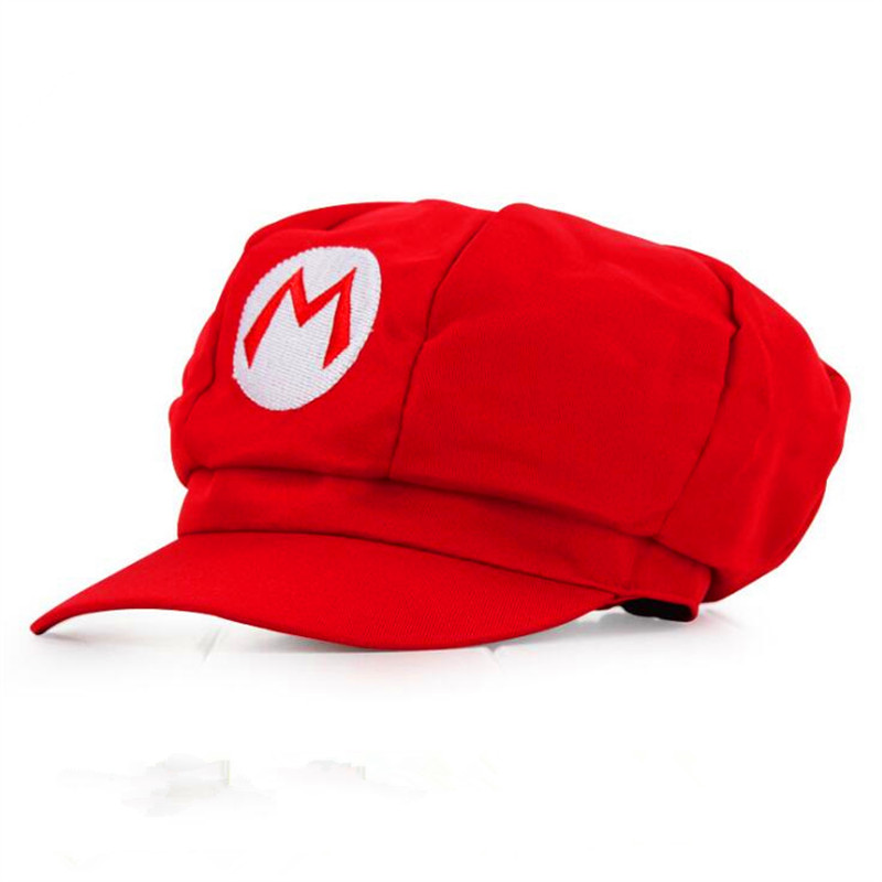 New Super Mario Cotton Caps hat Red Mario and luigi cap 2 colors Anime Cosplay Halloween Costume Buckle Hats Adult Hats Caps new cartoon pikachu cosplay cap black novelty anime pocket monster ladies dress pokemon go hat charms costume props baseball cap