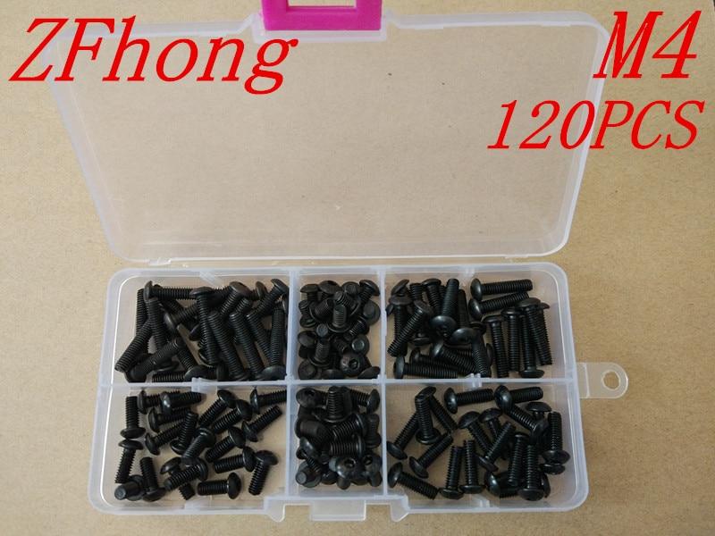 120PCS ISO7380 Grade10.9 M4 4mm Black Button Head Hex Socket Screw Assortment kits, цена и фото
