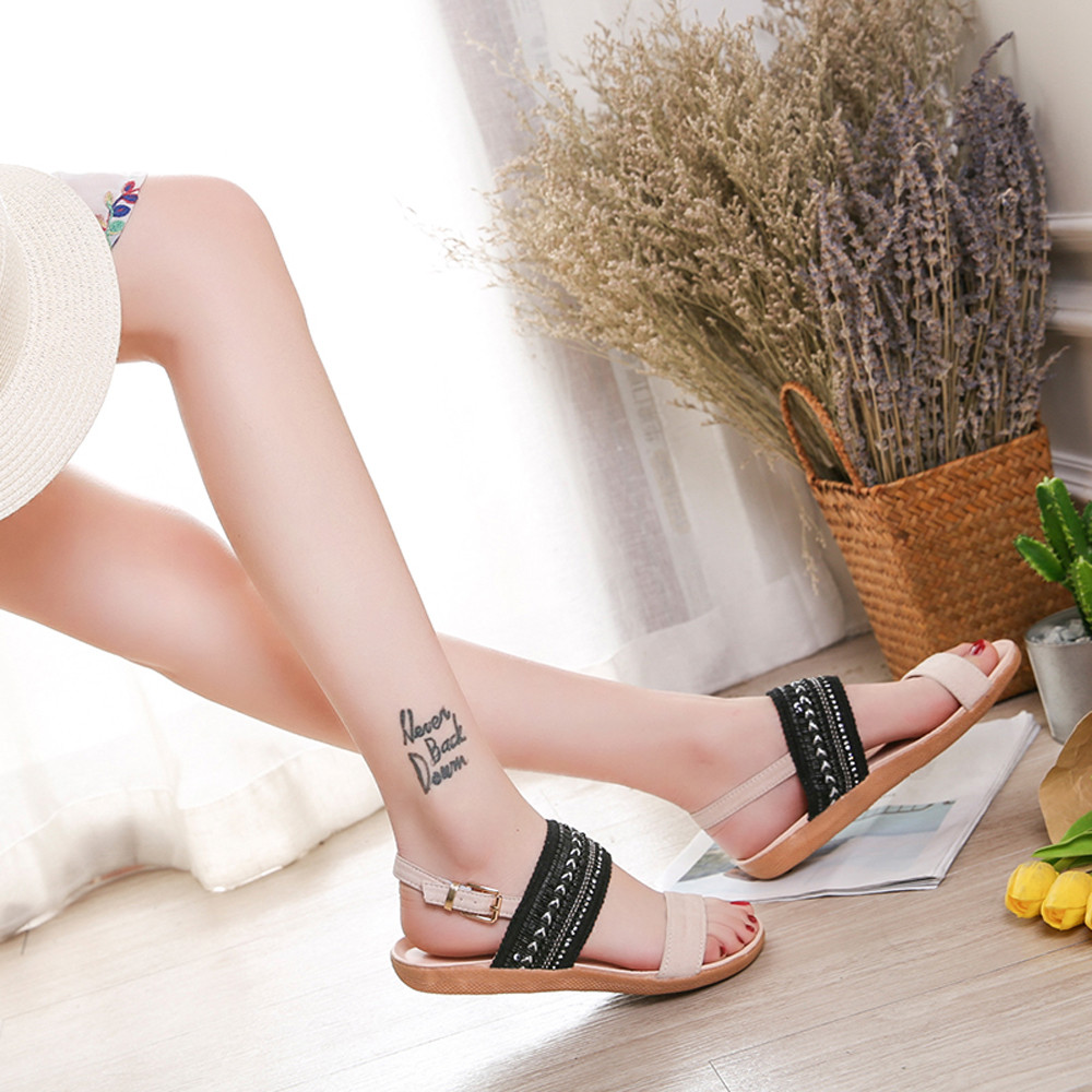 Sandalias azul Donna Tobillo Plana Zapatillas negro Playa rosado  Summerdenim Pie De Youyedian Ba Zapatos Bohemia Dedo Mujer Beige Chanclas  ... 94c2f474496