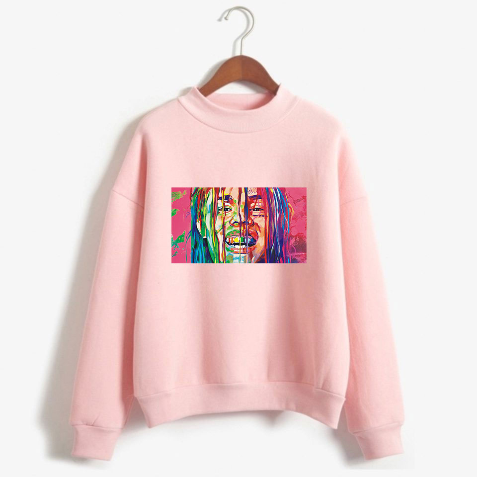 1 6ix9ine Fashion Rapper Printed Turtleneck Sweatshirts Women/men Long Sleeve Hot Sale Sweatshirts 2018 Hip Hop Casual Wear Nourishing The Kidneys Relieving Rheumatism