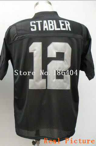 #12 Ken Stabler Jersey,Throwback Football Jersey,Best quality,Authentic Jersey,Size M--3XL,Accept Mix Order