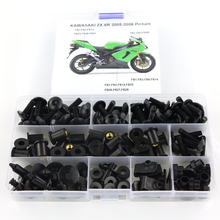 For Kawasaki ZX6R ZX-6R ZX 6R 2005 2006 Complete Full Fairing Bolts Kit Fairing Clips Nut Motorcycle Fairing Kit Steel OEM Style motorcycle gauntlet fairing