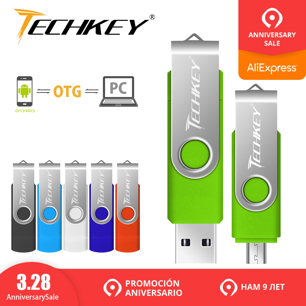 Pen drive otg usb flash drive techkey 1 gb 2 gb 4 gb 8 gb 16 gb 32 gb 64 gb móvil android teléfono flash memory stick pendrive mini usb 2,0