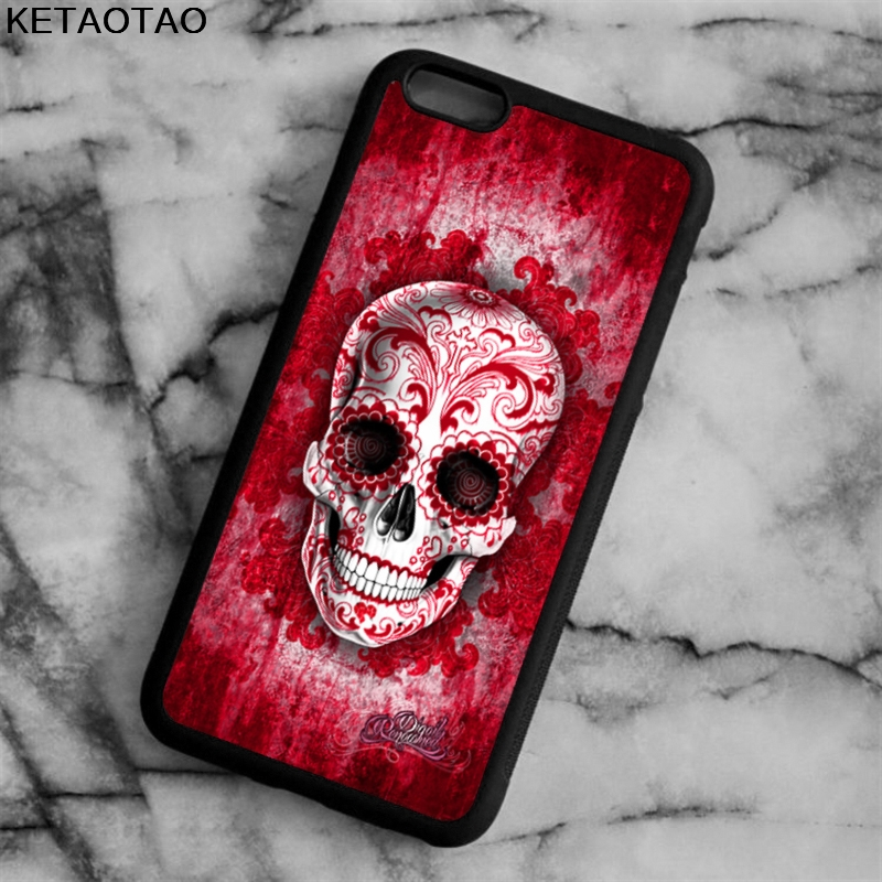 KETAOTAO Flowers Crystal Skull Head Phone Cases for iPhone 4S 5S 6 6S 7 8 X PLUS for Samsung NOTE Case Soft TPU Rubber Silicone
