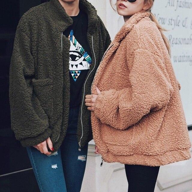 Fashion Women Fluffy Shaggy Faux Fur Warm Winter Coat Cardigan Jacket Lady Outwear Tops Long Sleeve Female Outerwear