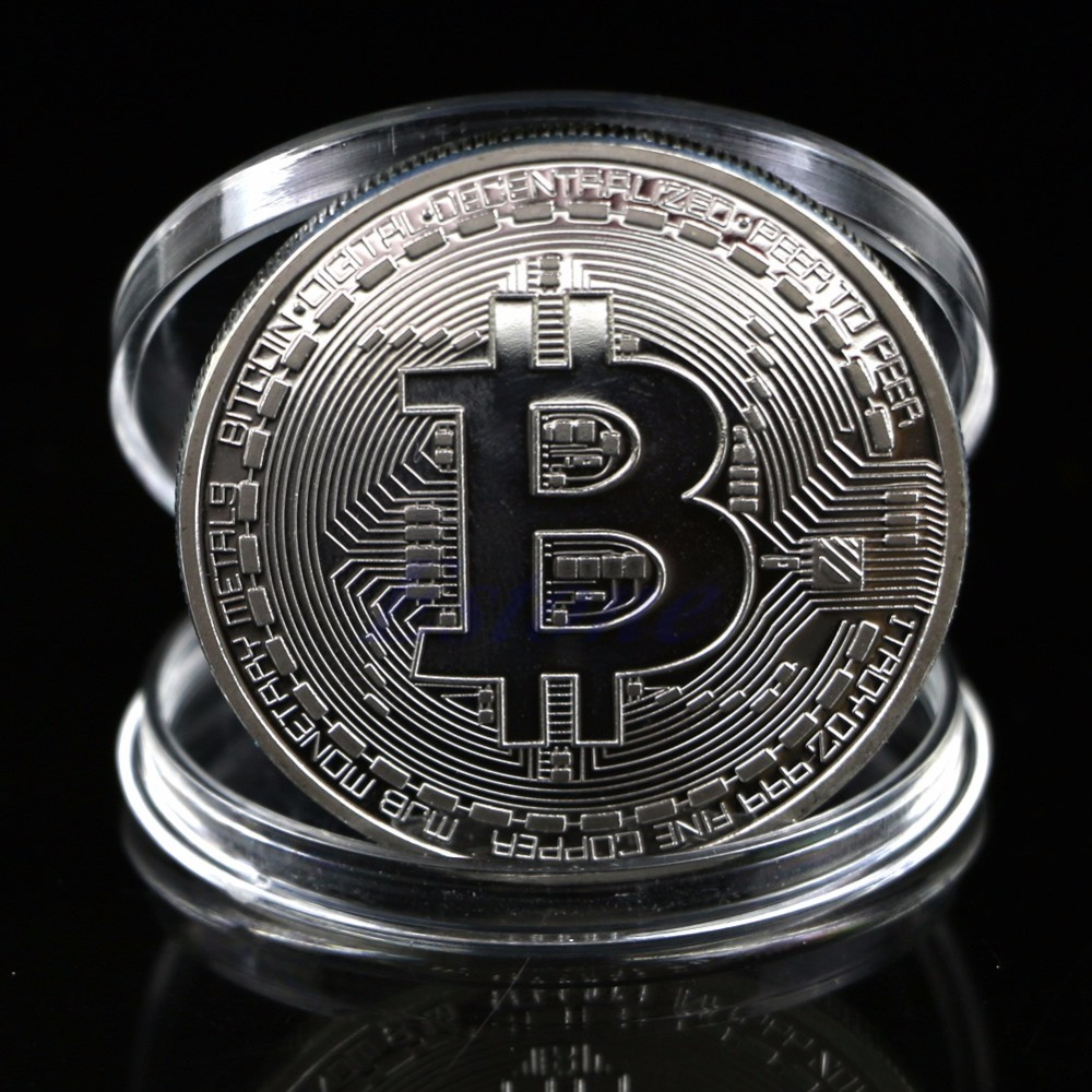 1Pc Silver Plated Bitcoin Coin Collectible BTC Coin Art Zbirka darilo fizično