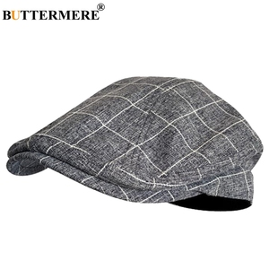 Image 5 - BUTTERMERE Cotton Flat Caps For Men Houndstooth Black Beret Male Casual Uv Duckbill Ivy Cap Vintage Autumn Mens Directors Hat