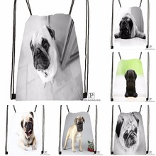 Custom Gray Dog Pug View Drawstring Backpack Bag Cute Daypack Kids Satchel Black Back 31x40cm 180531