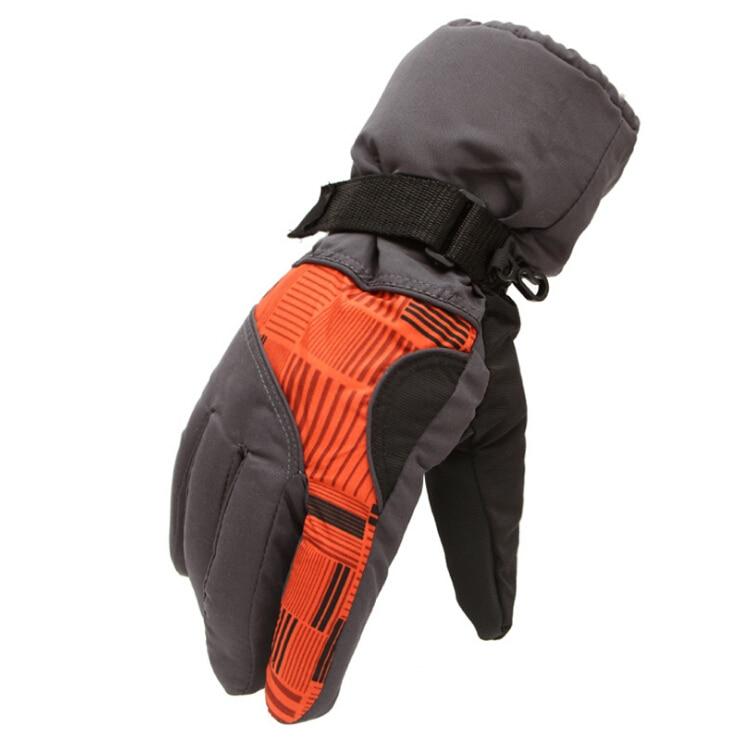 Winter Man Outdoor Sports Waterproof Thickening Climbing Skiing Gloves(Dark gray orange)
