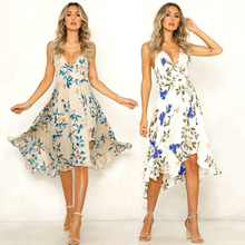 Summer Women Dress 2019 Vintage Sexy Bohemian Floral Tunic Beach Dress Sundress Flower Print White Dress Striped Female Brand цена 2017