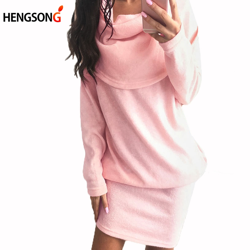 Autumn Fashion Women Sweater Dress Scarf Neck Long Sleeve Bodycon Lapel Sweater Knitted Mini Dress Pink White Black Dress 833907