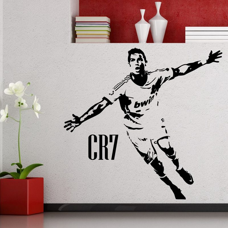 DCTAL Cristiano Ronaldo Football Player Sticker Sports Soccer Decal Helmets Kids Room Posters Vinyl Wall Decals Football Sticker