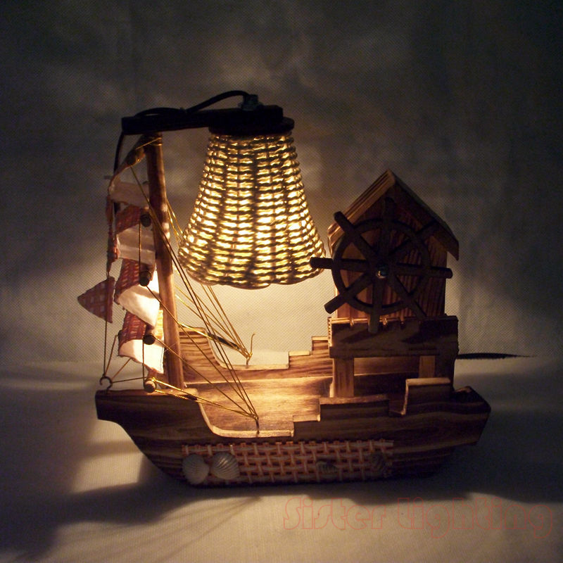 Handmade Sailing Boat Shape Night Light with Music Box for Children room home desk Light ...