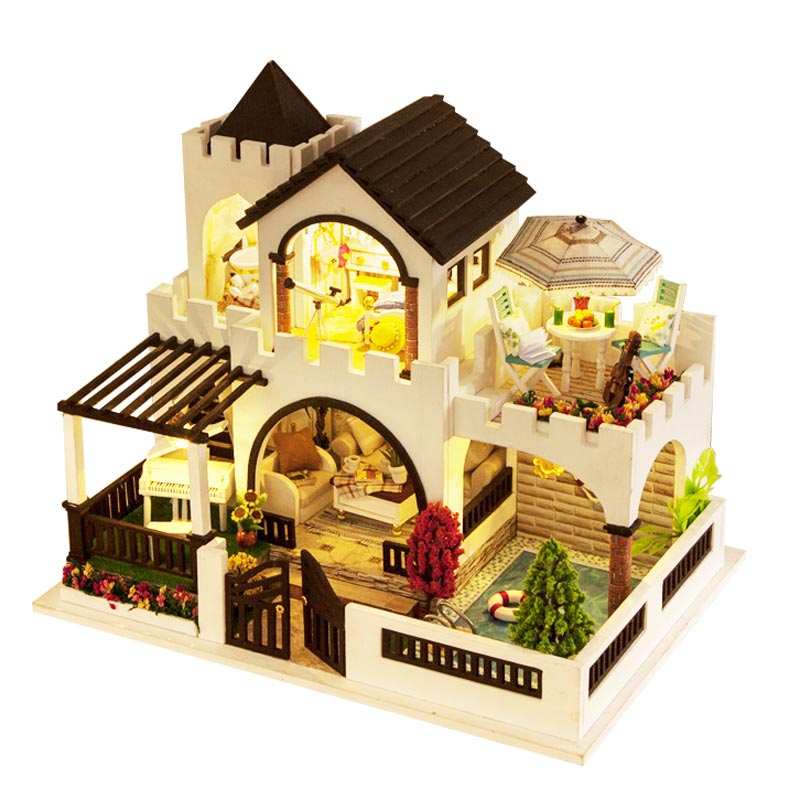 DIY Doll House Minatures Dollhouse Wooden Mini Casa Furnitures Building Kits Villa Model Accessories Toys For Children K011 #E
