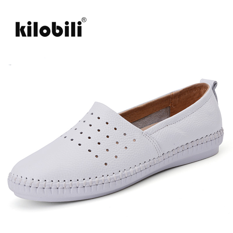Women Slip On Espadrilles Flats Shoes Genuine Leather Moccains Ladies Shallow Ballerina Flat Shoes Women wide Cut Loafers
