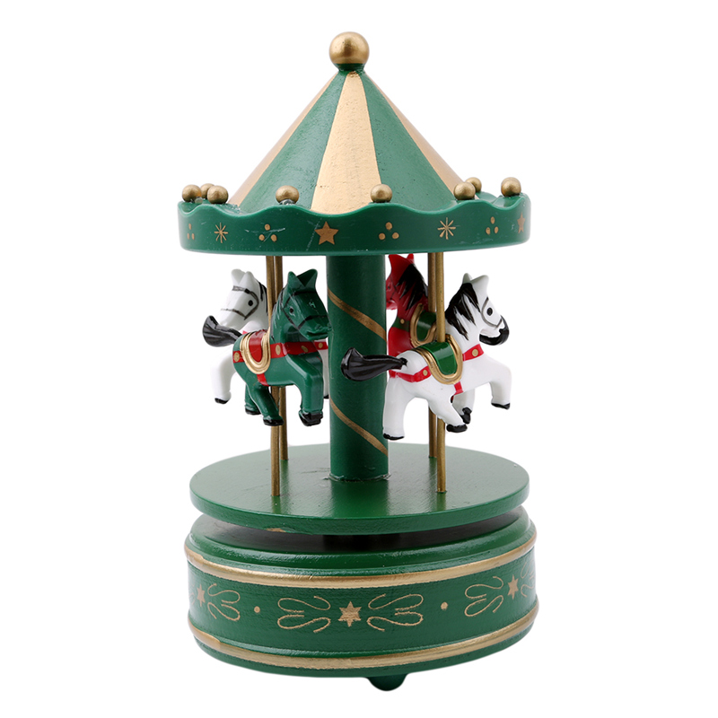 merry go round wooden music box decor carousel horse music box christmas wedding birthday gift wedding decoration ic894571 in music boxes from home garden