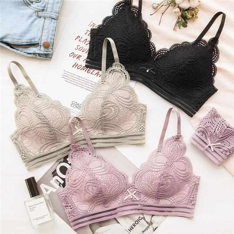 Back To Search Resultsunderwear & Sleepwears Women's Intimates Gumprun Sexy Lingerie Push Up Bra Set Floral Embroidery Bandage Underwear Women Bralette Panty Set Thin Wireless Bra Brief Sets Always Buy Good