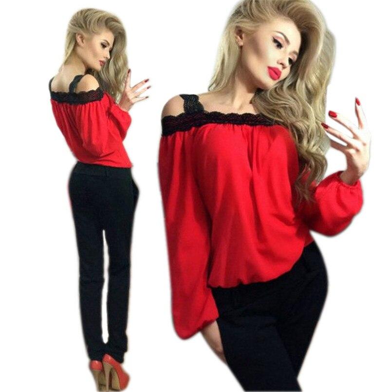 blusas Women New Sexy Off <font><b>Shoulder</b></font> Long Sleeve Shirt <font><b>Lace</b></font> Chiffon Blouse Loose <font><b>Top</b></font> <font><b>yellow</b></font> blouses camisas femininas 2016
