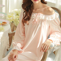 New Arrivals Vintage Nightgowns Sleepshirts Soft Home Dress Lace Sleepwear Solid Sleep & Lounge Cotton Nightgown female # H100