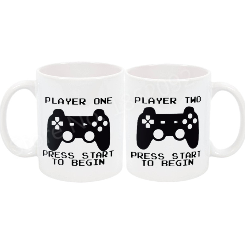 0e30065d3 Funny Player One Player Two Video Game Couple Coffee Mug Tea Cup Set Geek Gamer  Gaming