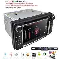 2Din GPS DVD Player for RAV4 CAMRY COROLLA Navimap Radio support BT/SWC/Rear camera/Subwoofer fit for TOYOTA with LED Backup Cam